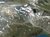 Prospettiva della discesa dal colle nord cime bianche