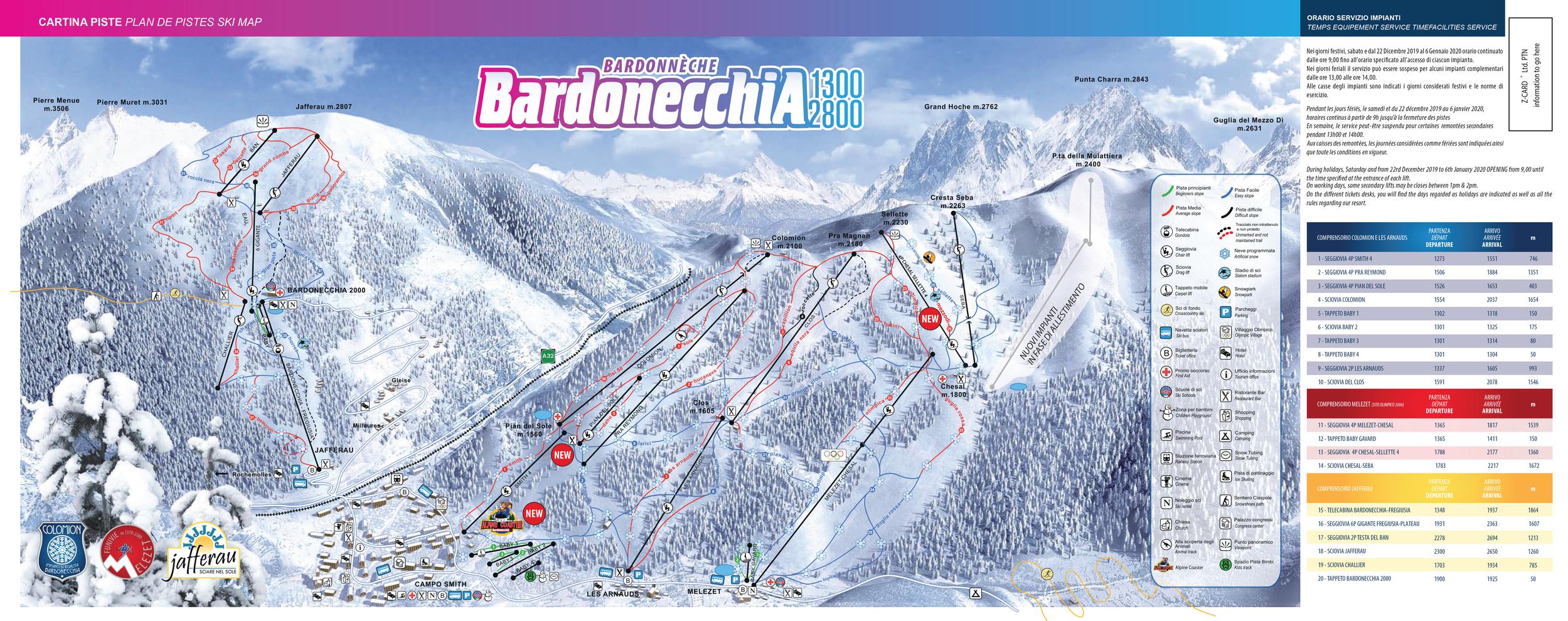 Cartina Bardonecchia - Mappa piste di sci Bardonecchia