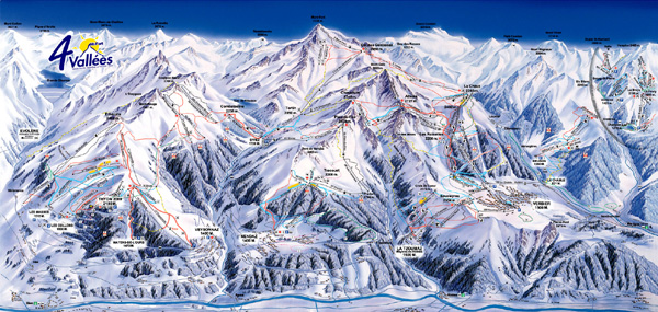 cartina piste sci skimap les 4 vallees