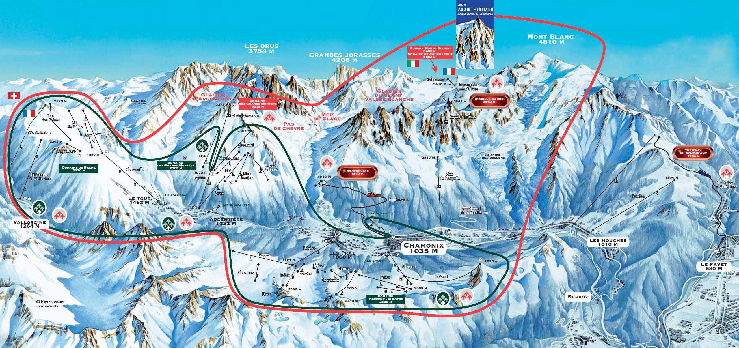Chamonix Cartina Geografica.Cartina Chamonix Mappa Piste Di Sci Chamonix Dove Sciare