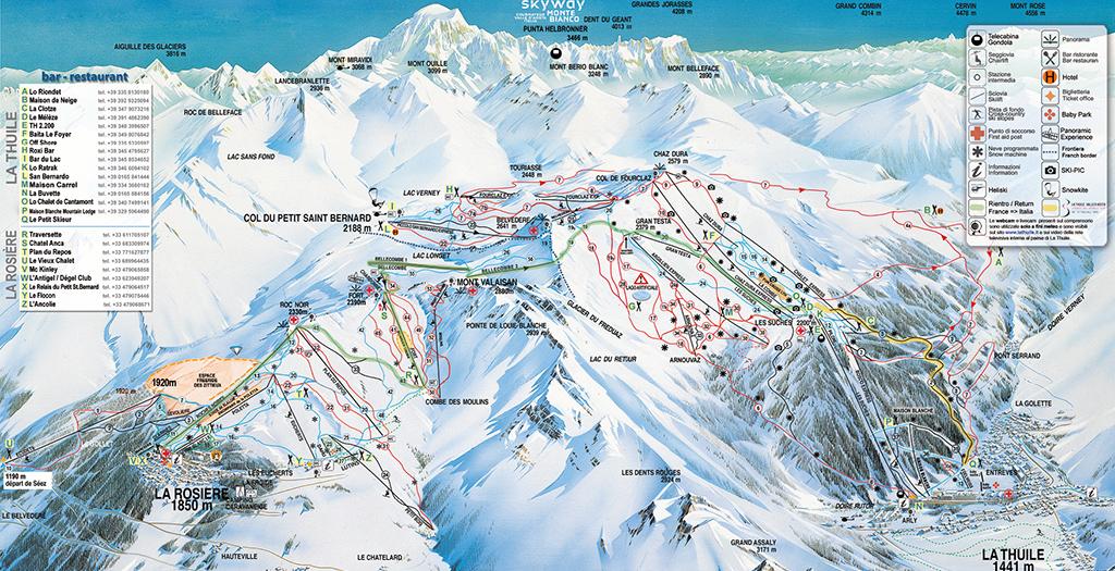 cartina piste sci skimap espace san bernardo