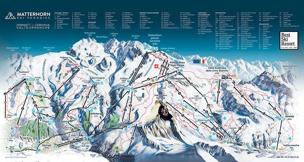 cartina piste sci skimap matterhorn ski paradise