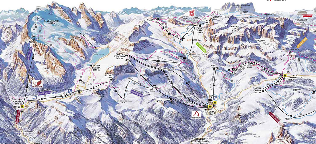 cartina piste sci Arabba