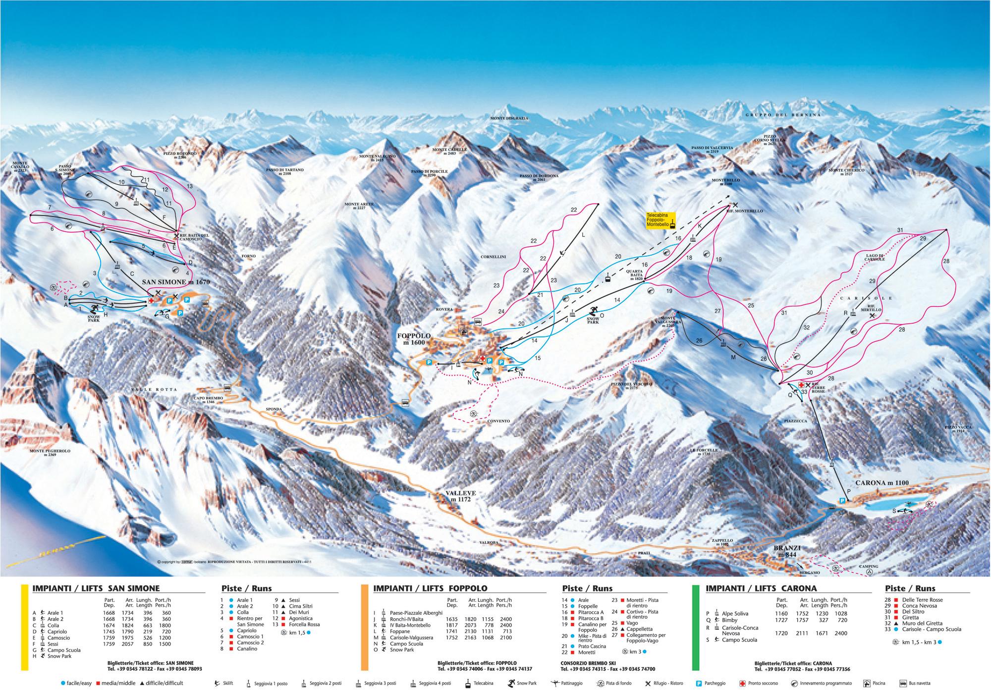Cartina san simone mappa piste di sci san simone dove for Piani di ponte ottagonale