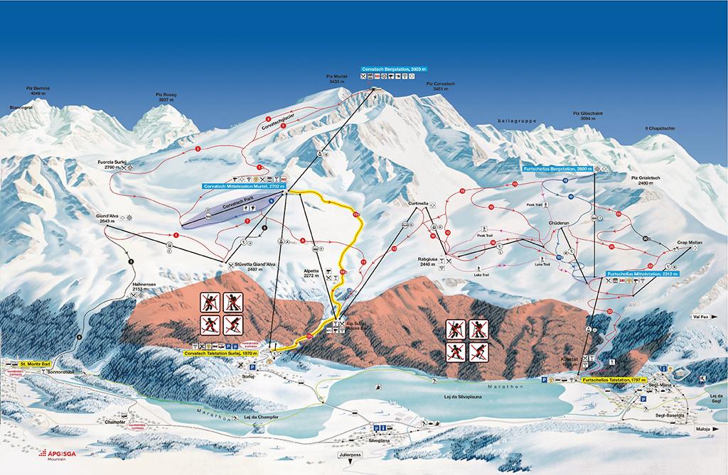 cartina piste sci Corvatsch