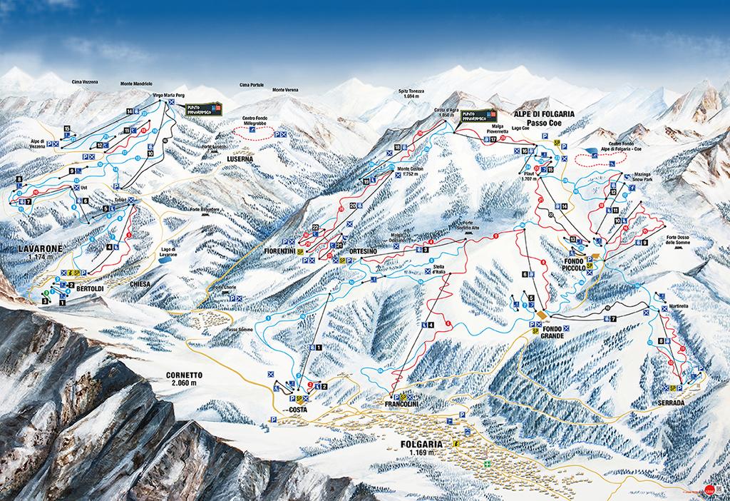 cartina piste sci skimap folgaria