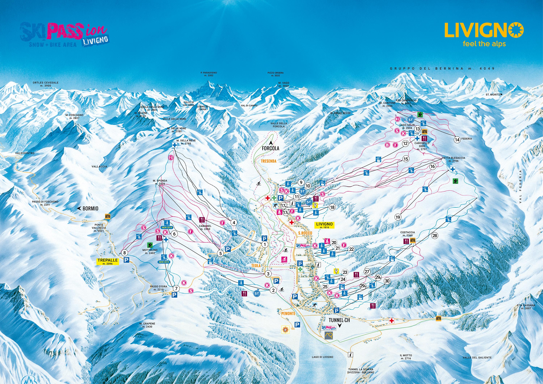 Cartina Geografica Livigno E Dintorni.Cartina Livigno Mappa Piste Sci Livigno