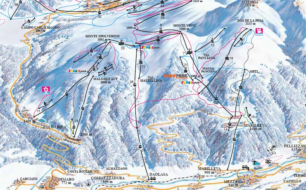 Cartina 1400.Cartina Marilleva Mappa Piste Sci Marilleva Dove Sciare