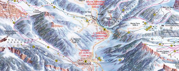 Cartina Ortisei Mappa piste di sci Ortisei Dove Sciare