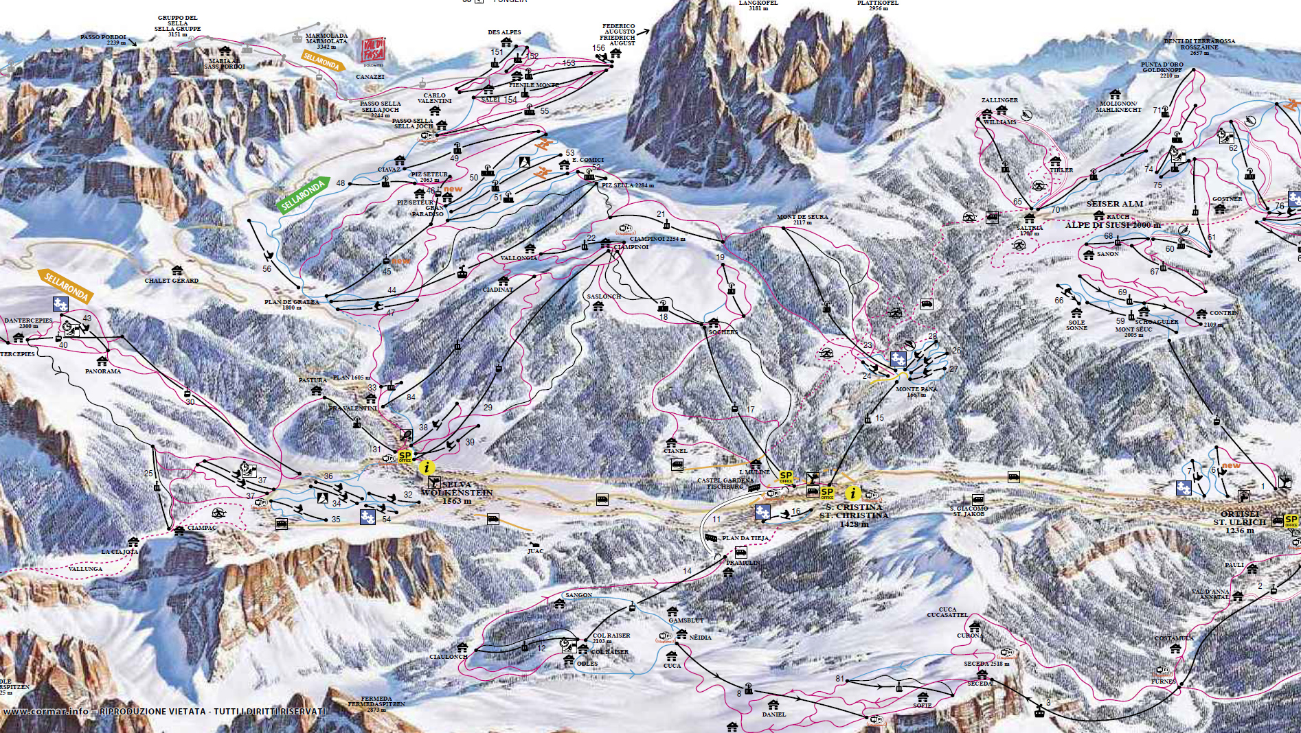 Cartina Santa Cristina - Mappa piste di sci Santa Cristina