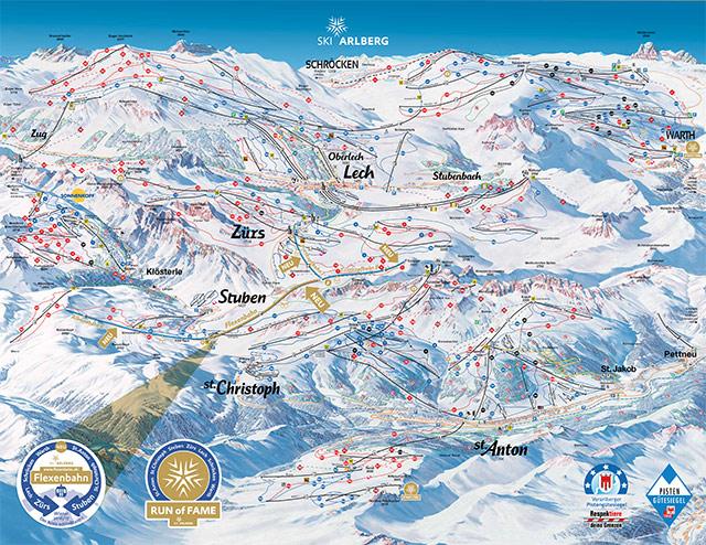 Cartina piste sci St. Anton