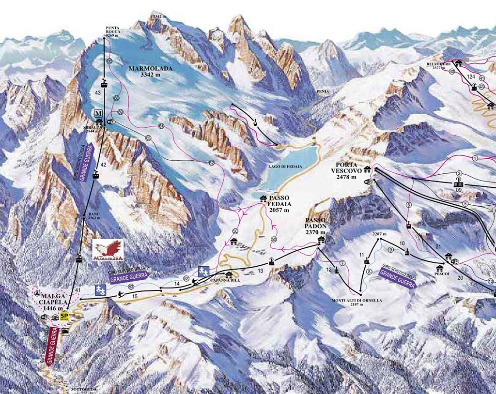 cartina piste sci skimap malga ciapela marmolada