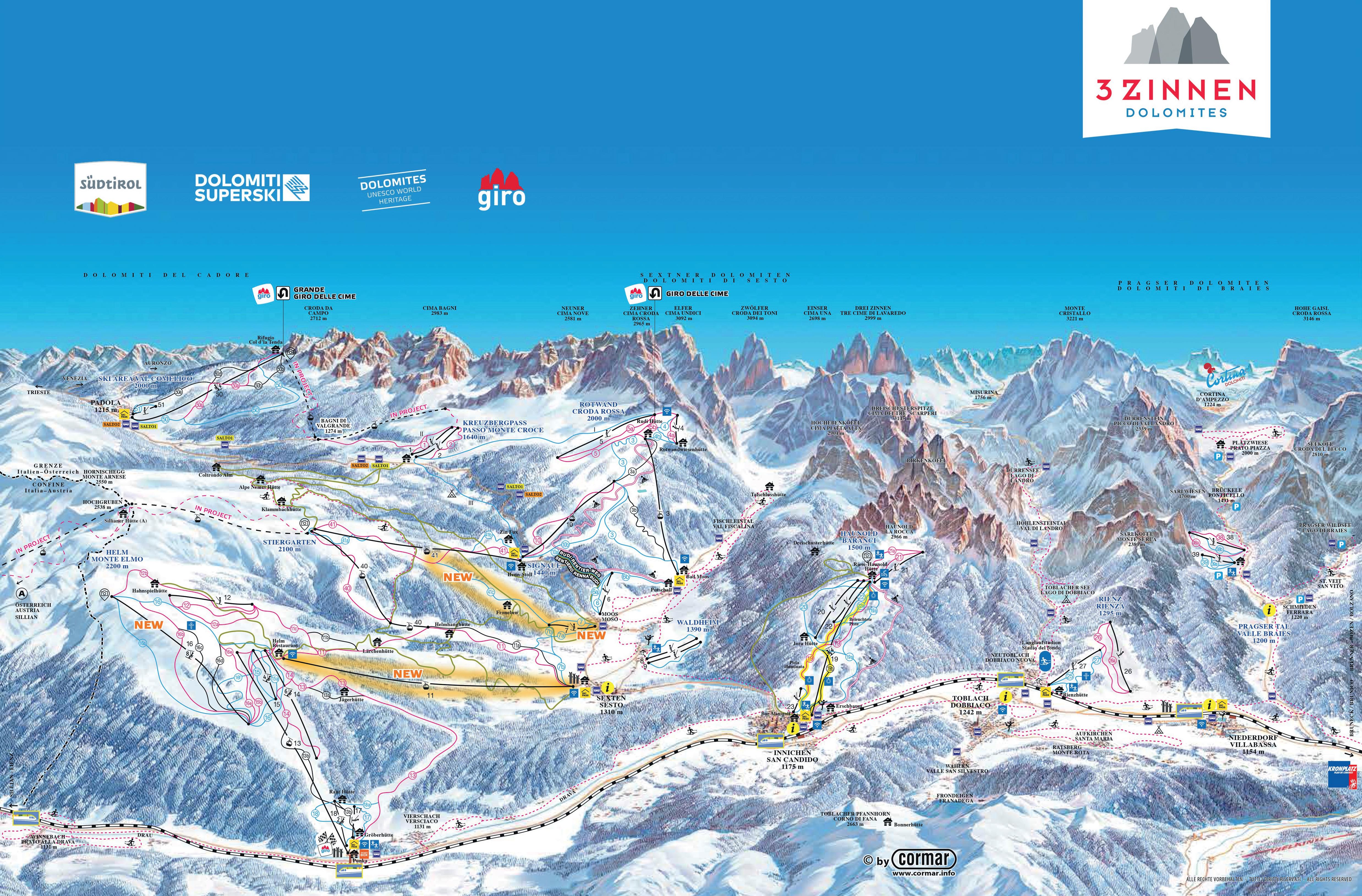 Cime sci Cartina Cime Tre Dolomiti Dolomiti Skirama Tre piste S0w7TxH
