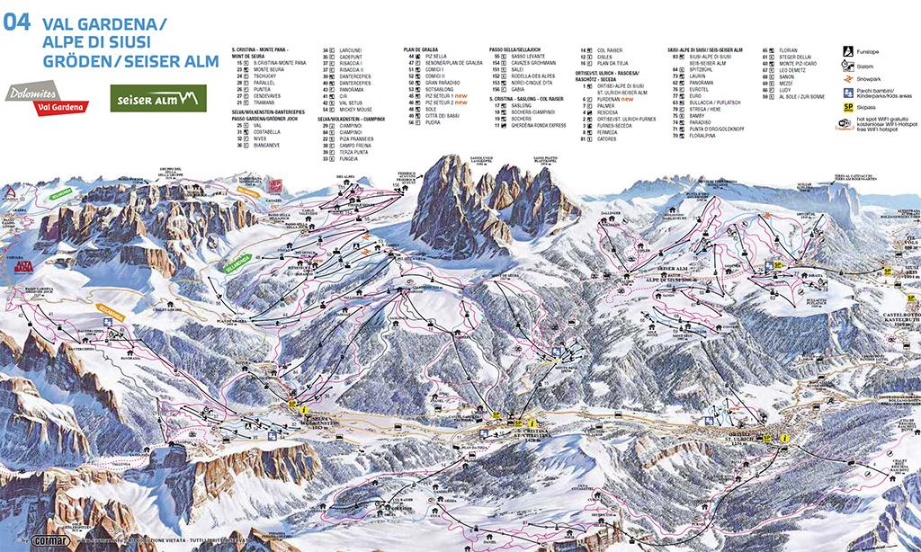 cartina piste sci val gardena