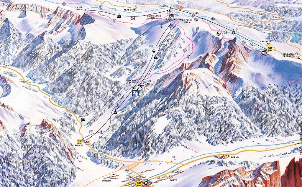 cartina piste sci skimap moena alpe lusia