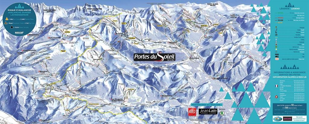cartina piste sci skimap les portes du soleil