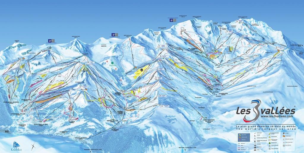 cartina piste sci skimap les trois vallees