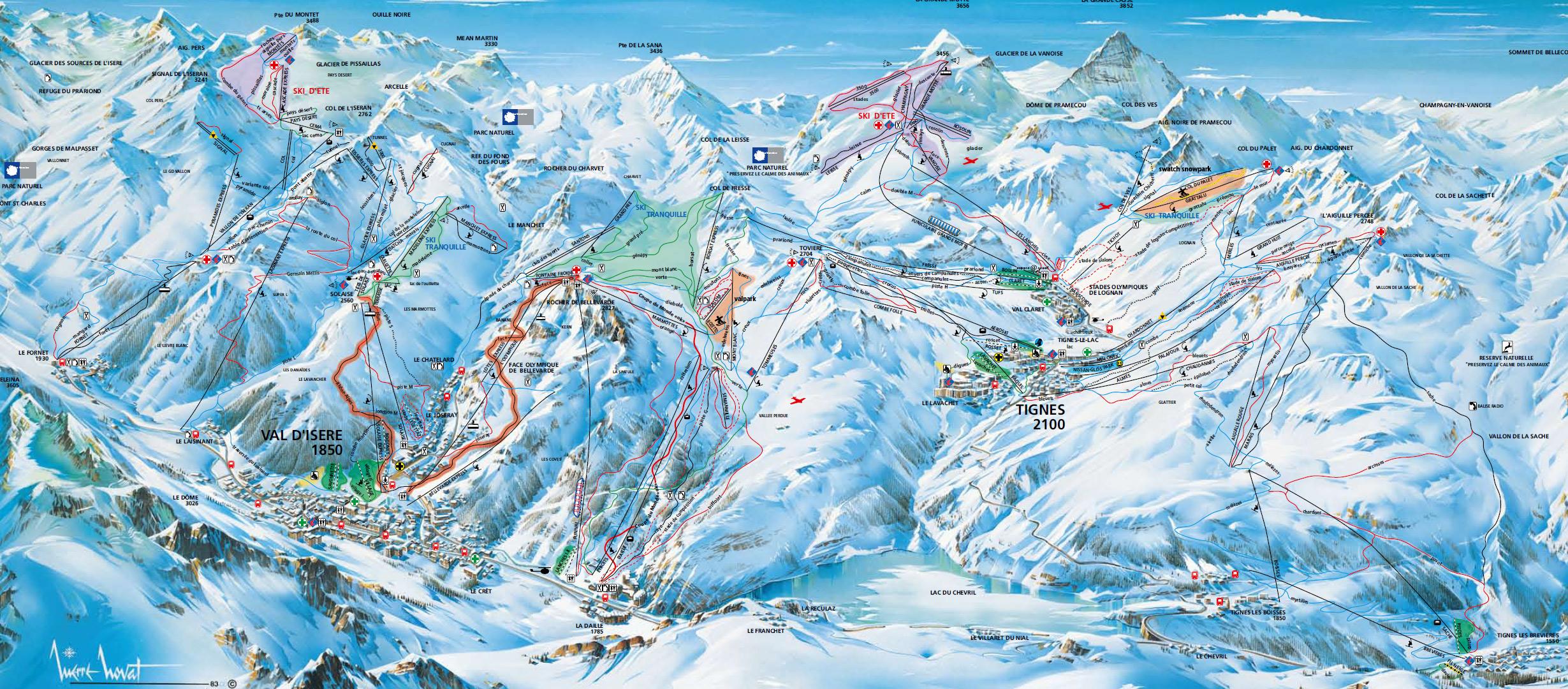 Cartina val d 39 isere mappa piste di sci val d 39 isere - Residence sulle piste da sci con piscina ...