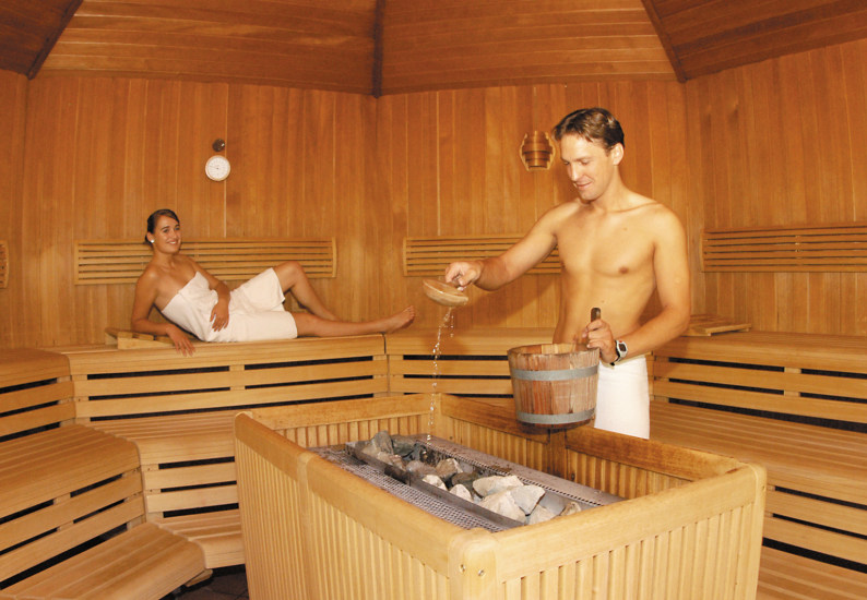 Naked couples in sauna