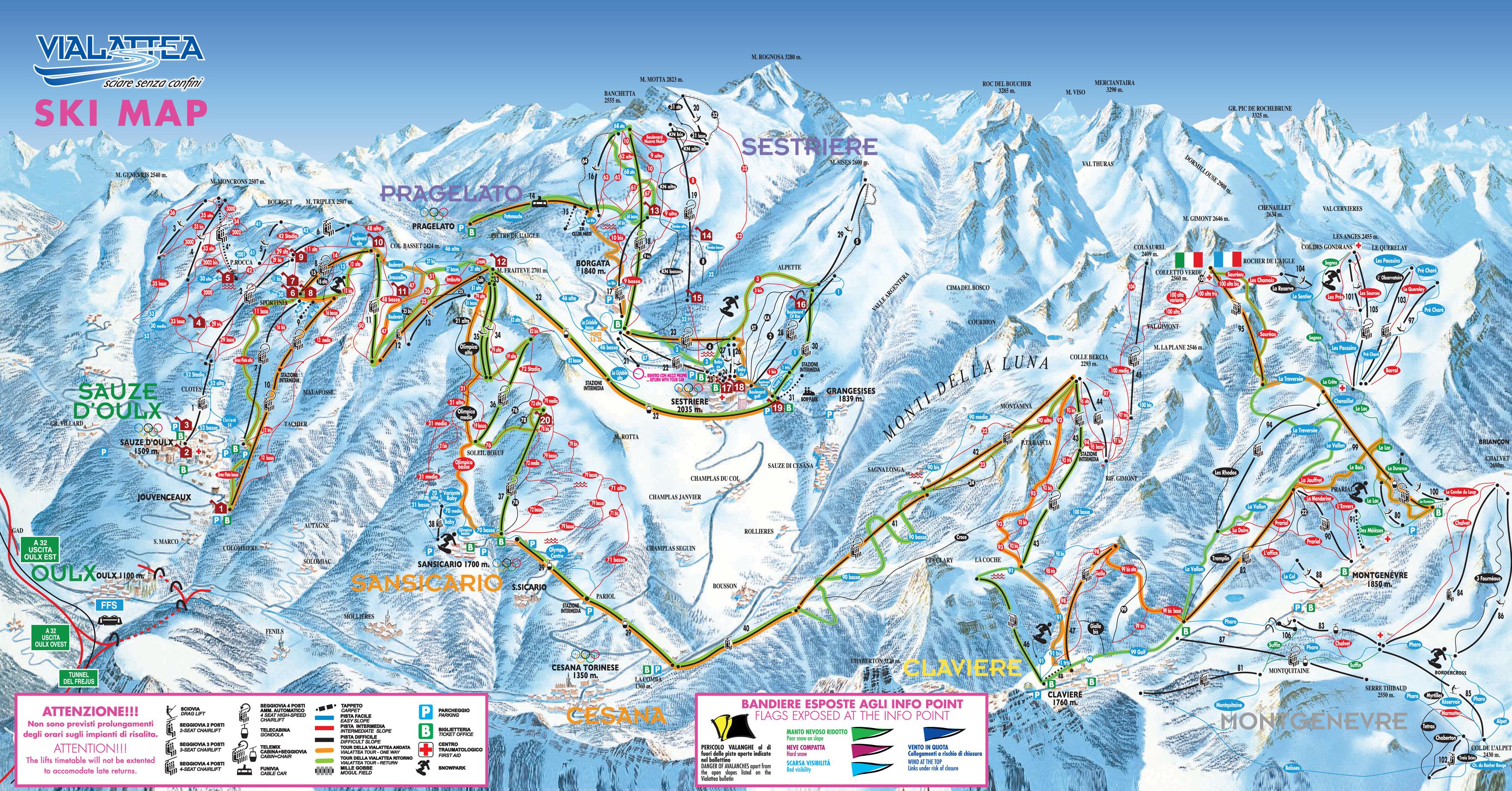 Bardonecchia Cartina Geografica.Cartina Via Lattea Mappa Delle Piste Della Via Lattea Dove Sciare