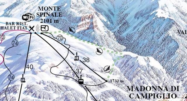 Mappa pista slittino a Madonna di Campiglio