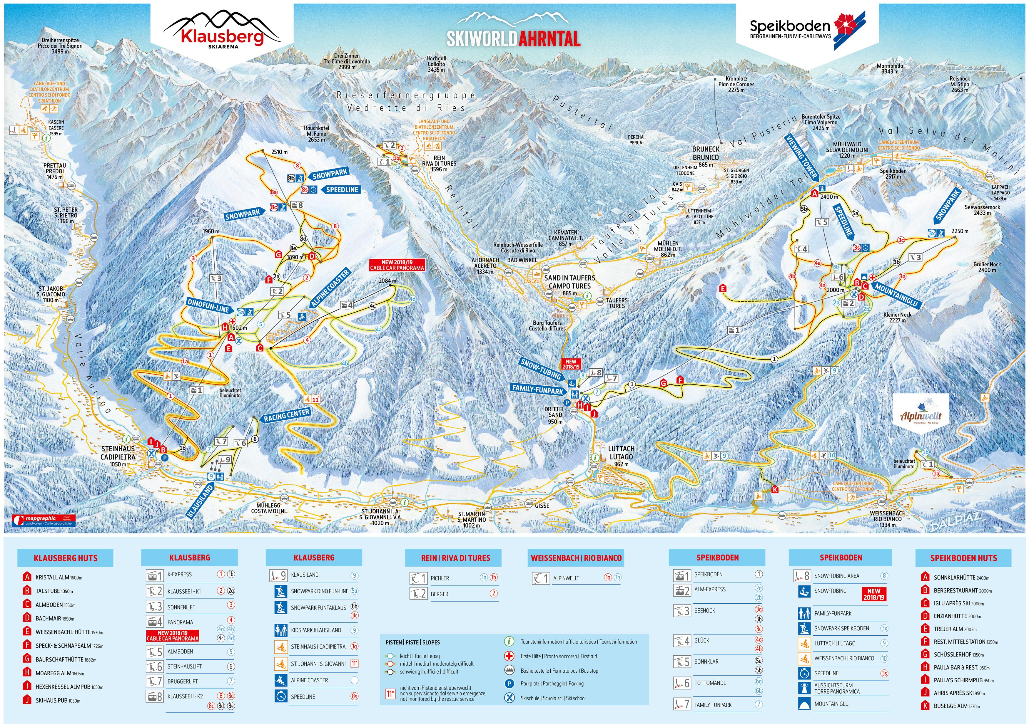 Valle Aurina Cartina Geografica.Cartina Valle Aurina Mappa Piste Di Sci Valle Aurina Dove Sciare