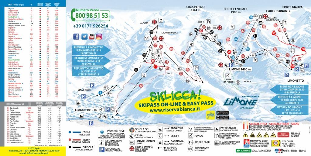 Cartina 1400.Cartina Limone Piemonte Mappa Piste Di Sci Limone Piemonte