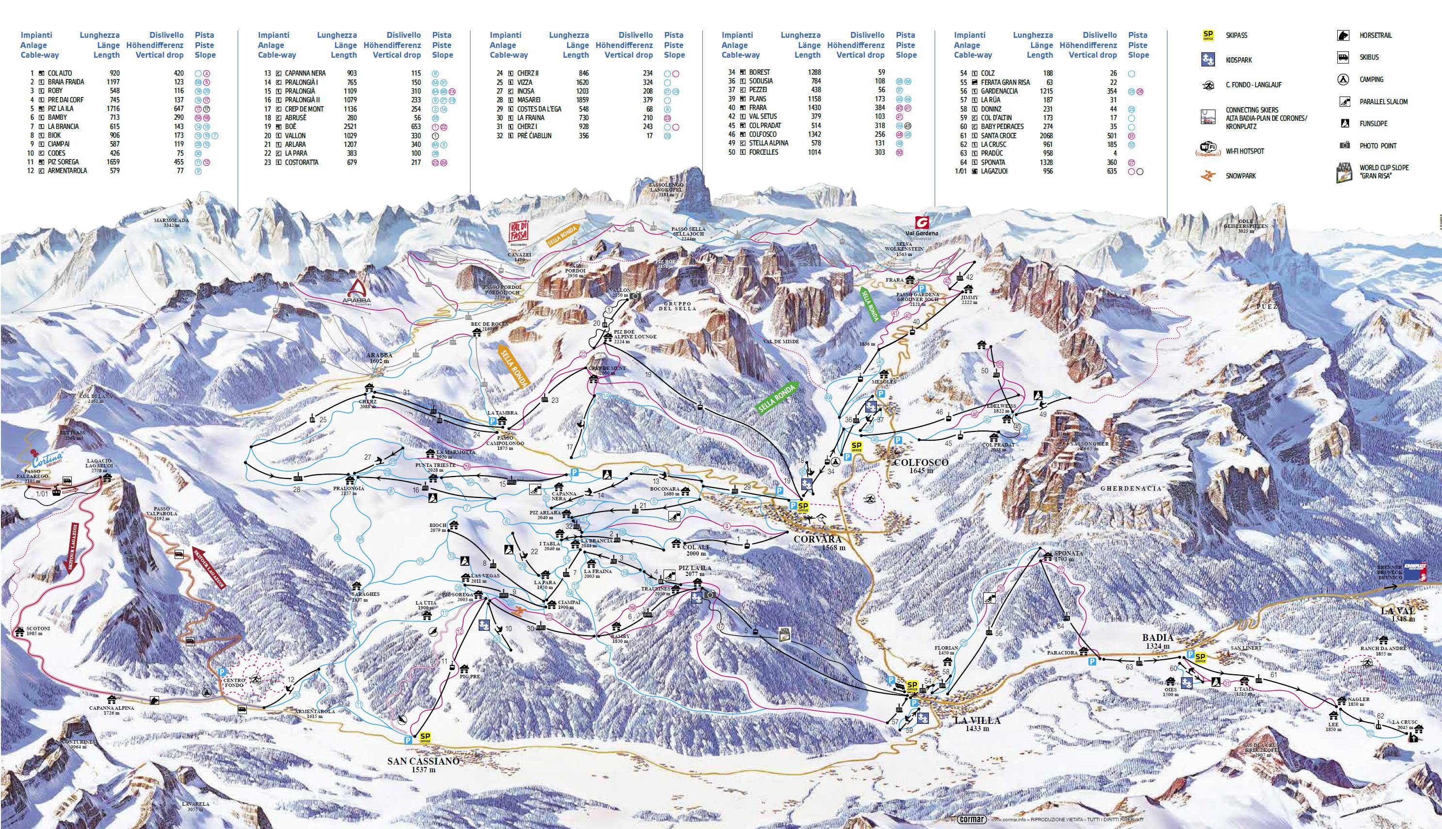 cartina piste sci skimap alta badia