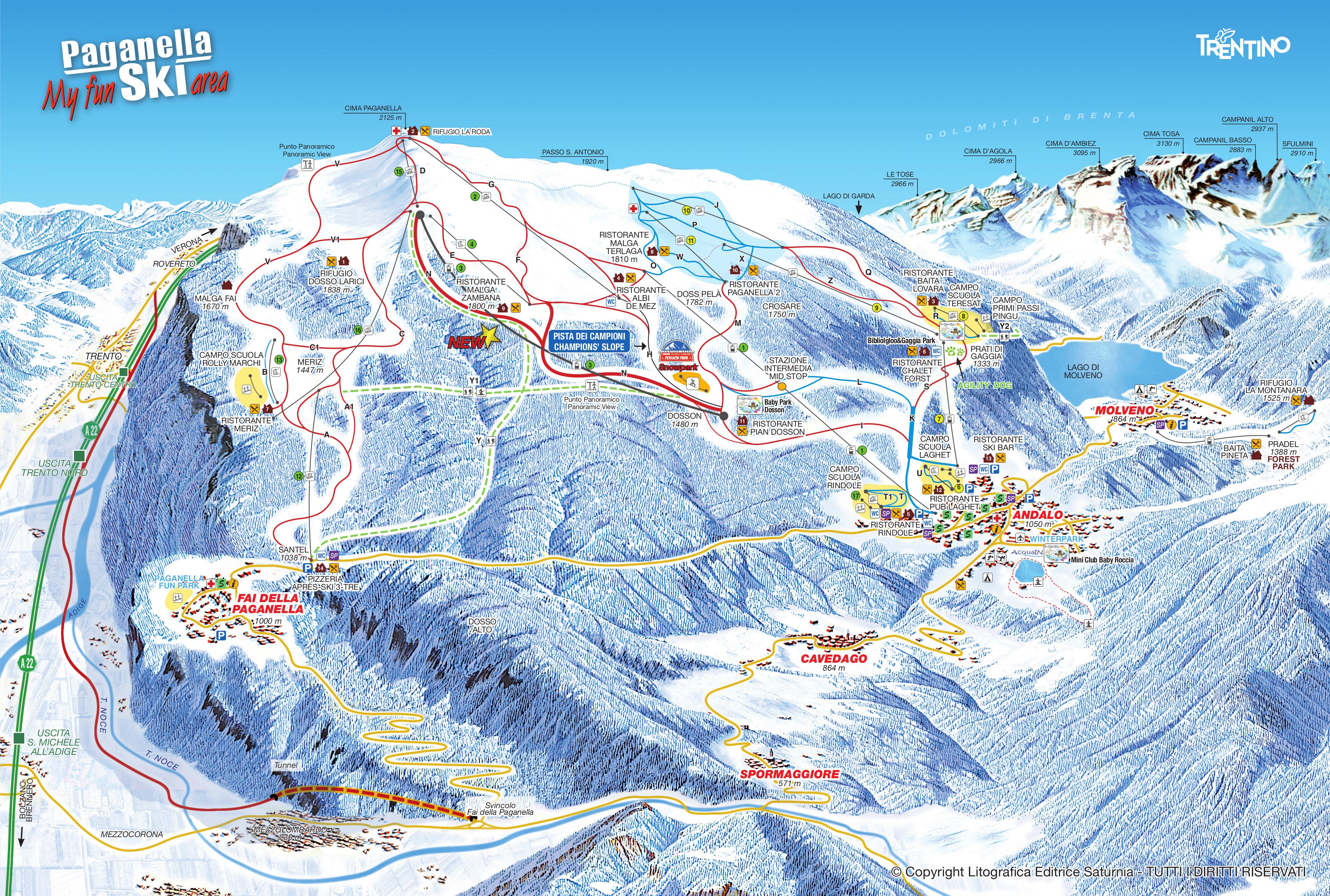 Cartina Andalo Fai della Paganella. Mappa delle piste sci | Dove Sciare