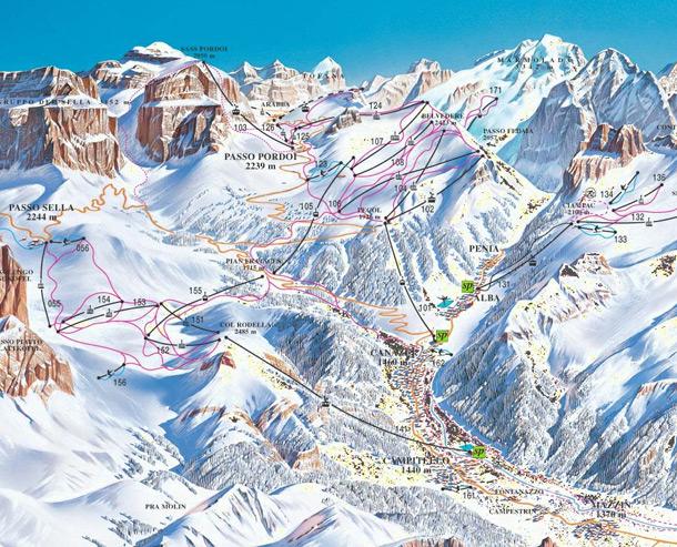 cartina piste sci skimap canazei
