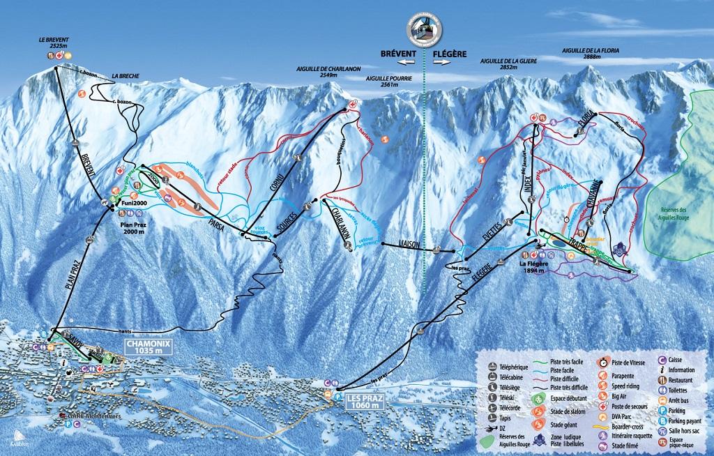 cartina piste sci skimap chamonix