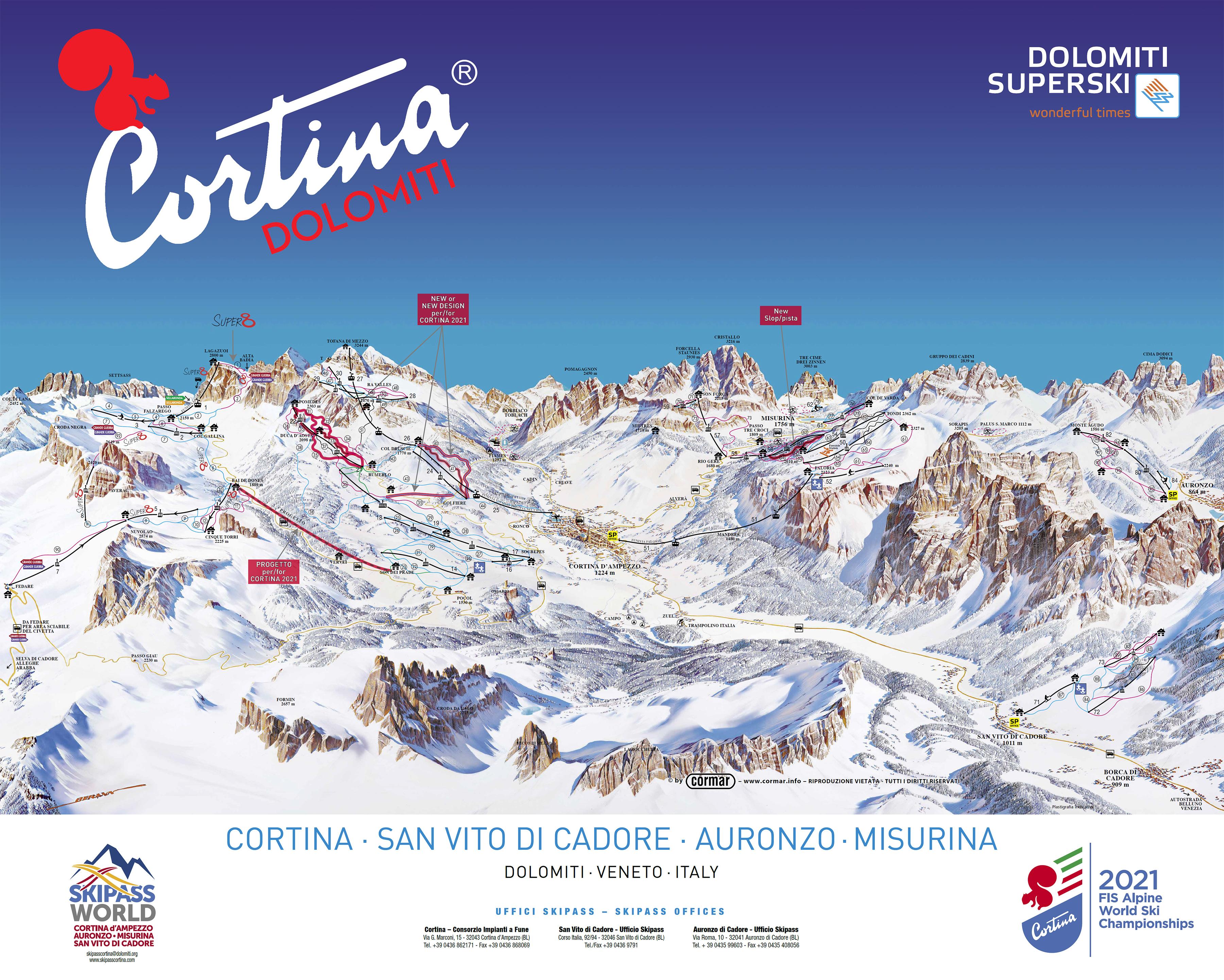 Cartina Cortina D Ampezzo Mappa Piste Di Sci Cortina D