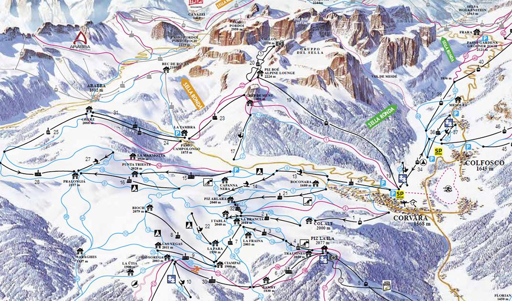 Cartina Corvara Mappa piste di sci Corvara Dove Sciare