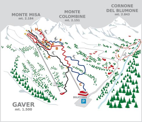 Cartina gaver mappa piste di sci gaver