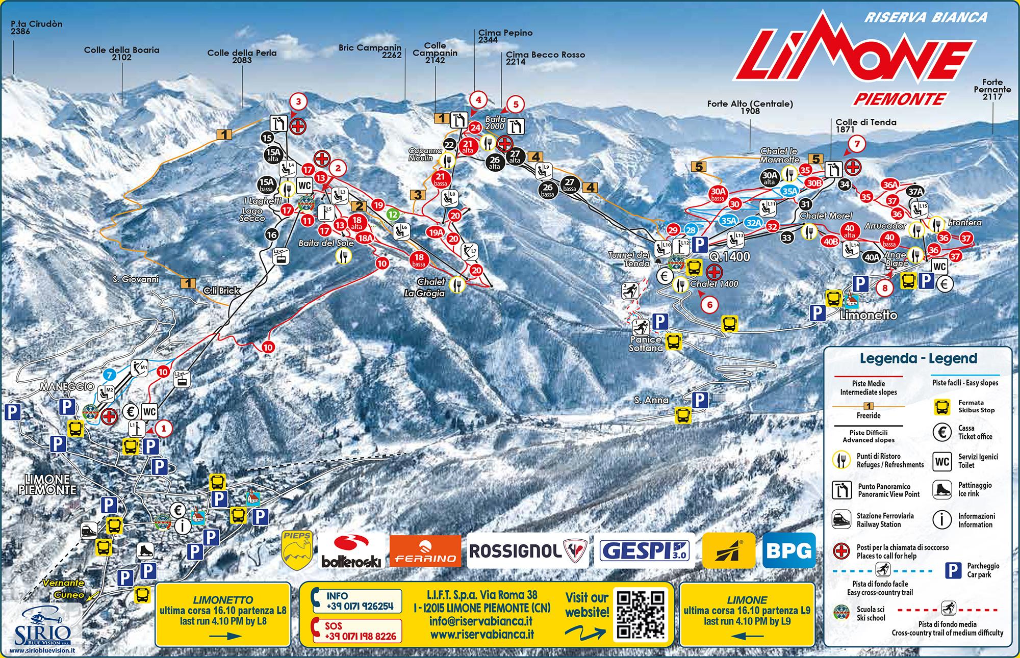 Cartina 1400.Cartina Limone Piemonte Mappa Piste Sci Limone Piemonte