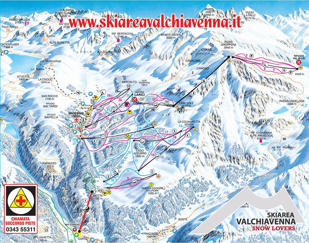 cartina piste sci skimap interattiva madesimo