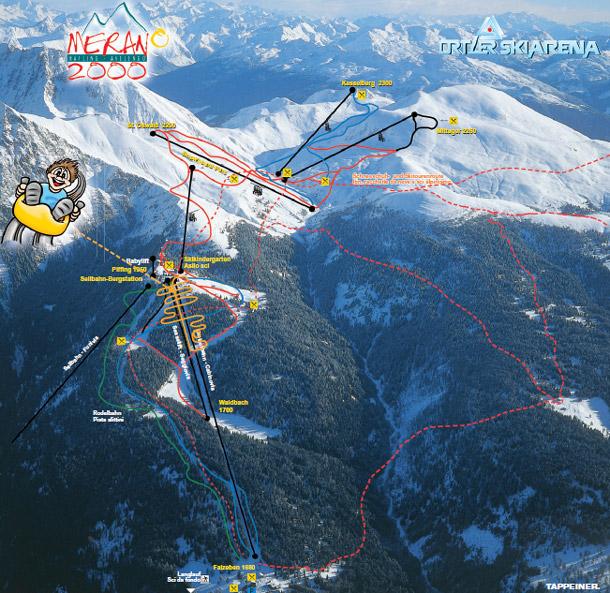 cartina piste sci skimap merano 2000