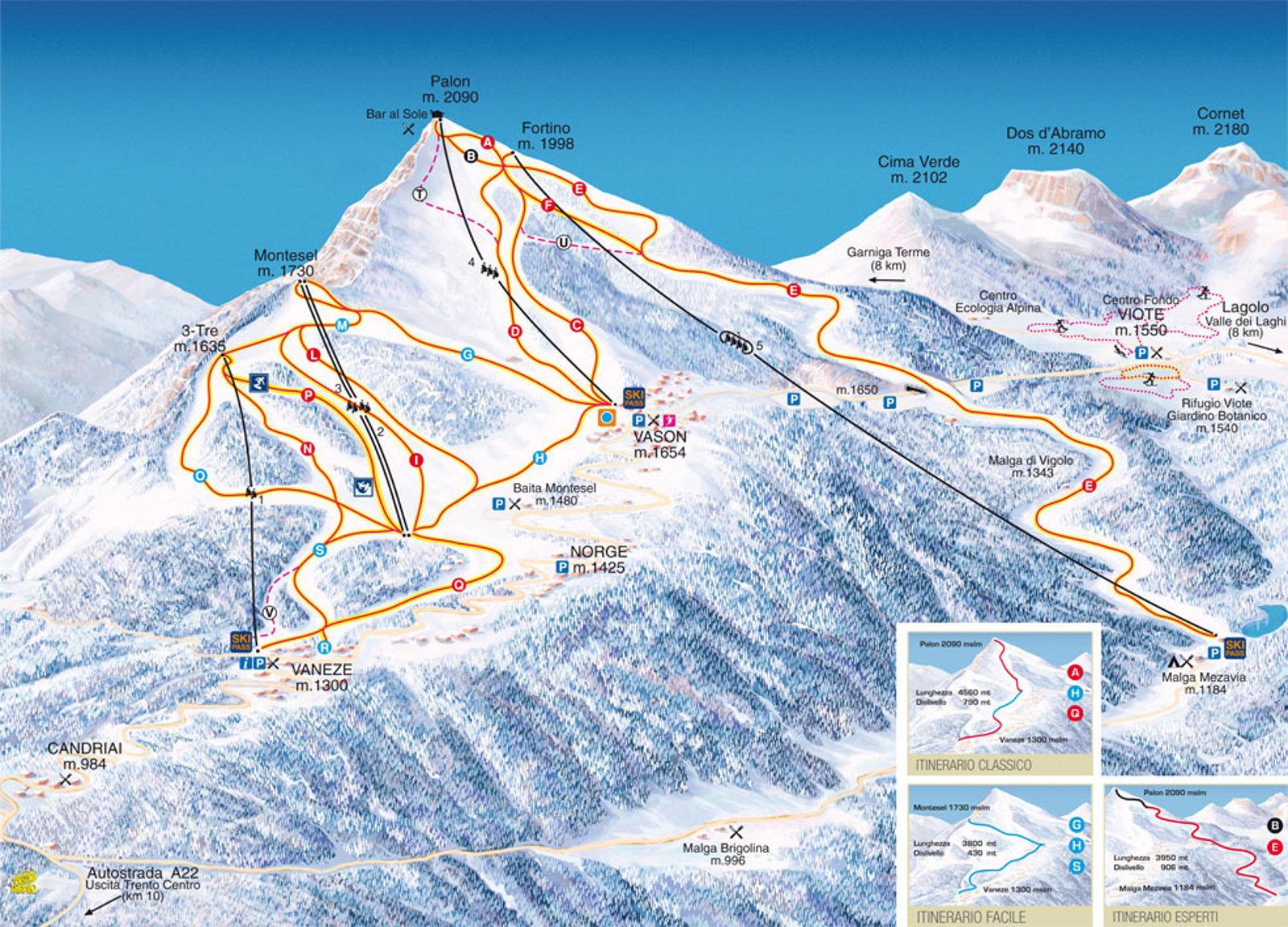 Cartina Monte Bondone Mappa Piste Di Sci Monte Bondone Dove Sciare