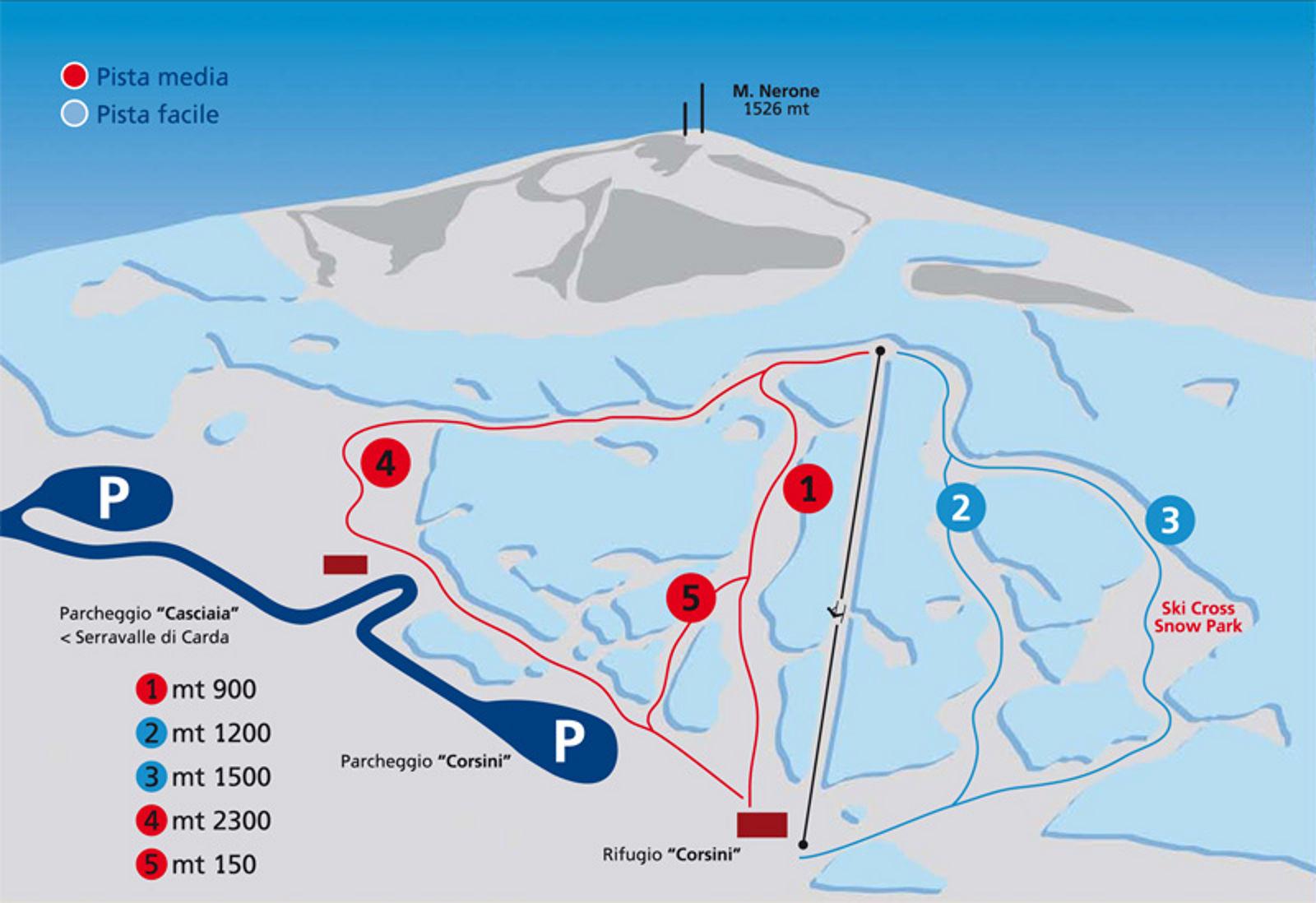 """Mappa piste Monte Nerone """"Dovesciare"""" Temporaneamente off line."""