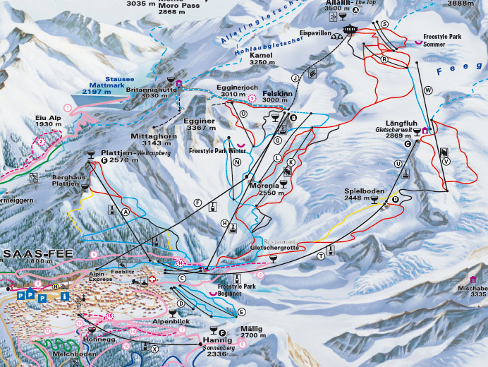 cartina piste sci skimap saas fee