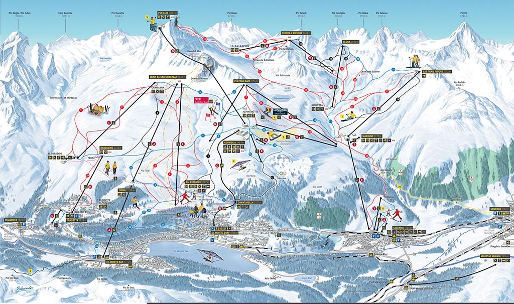 cartina piste sci skimap sankt moritz