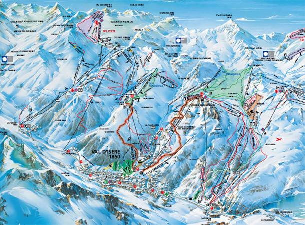 cartina piste sci skimap val d isere
