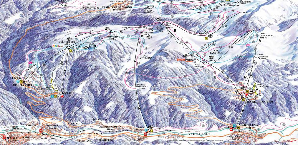 Cartina 1400.Cartina Piste Folgarida Skimap Folgarida Dove Sciare