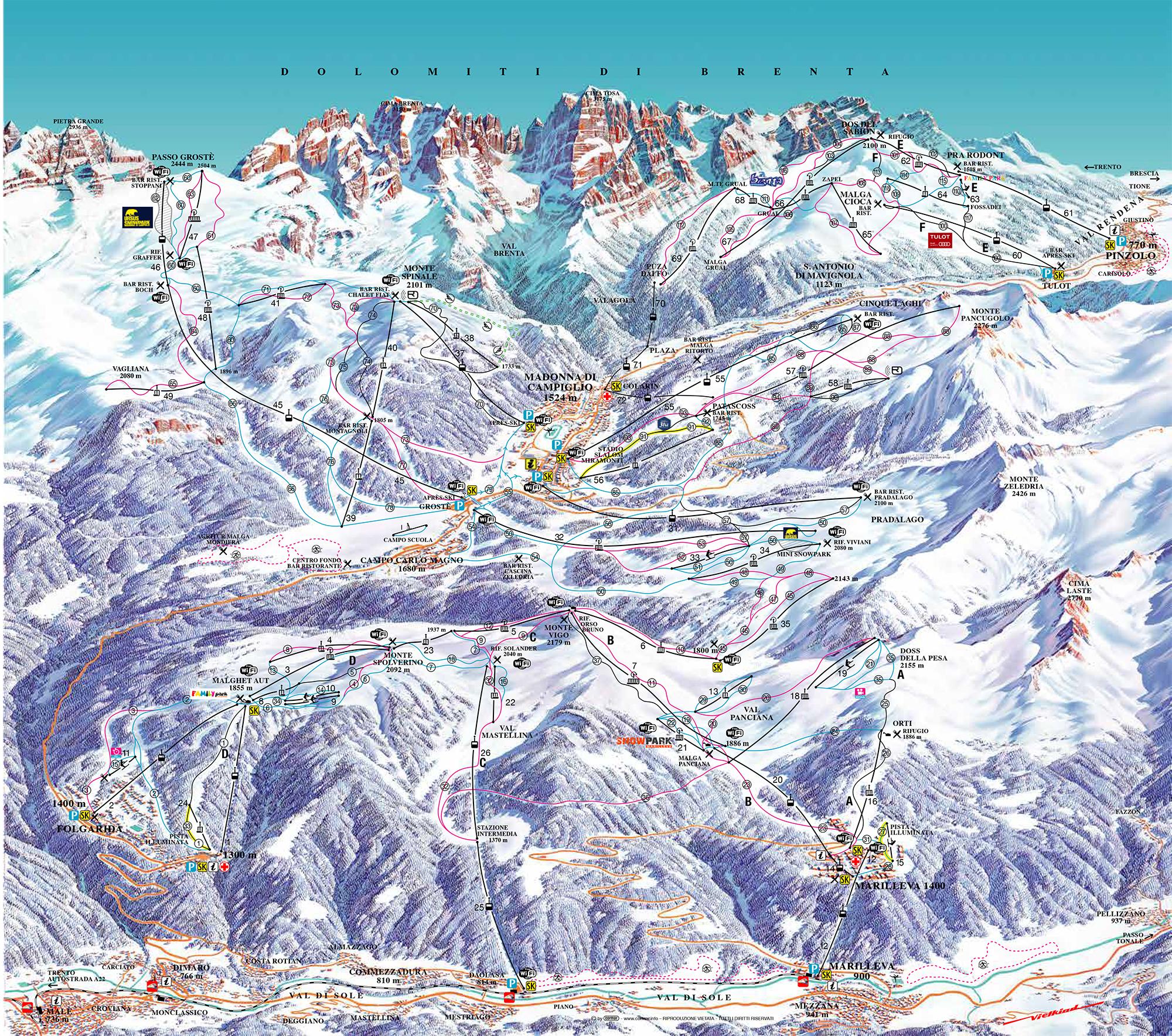 Risultato immagini per ski map madonna di campiglio