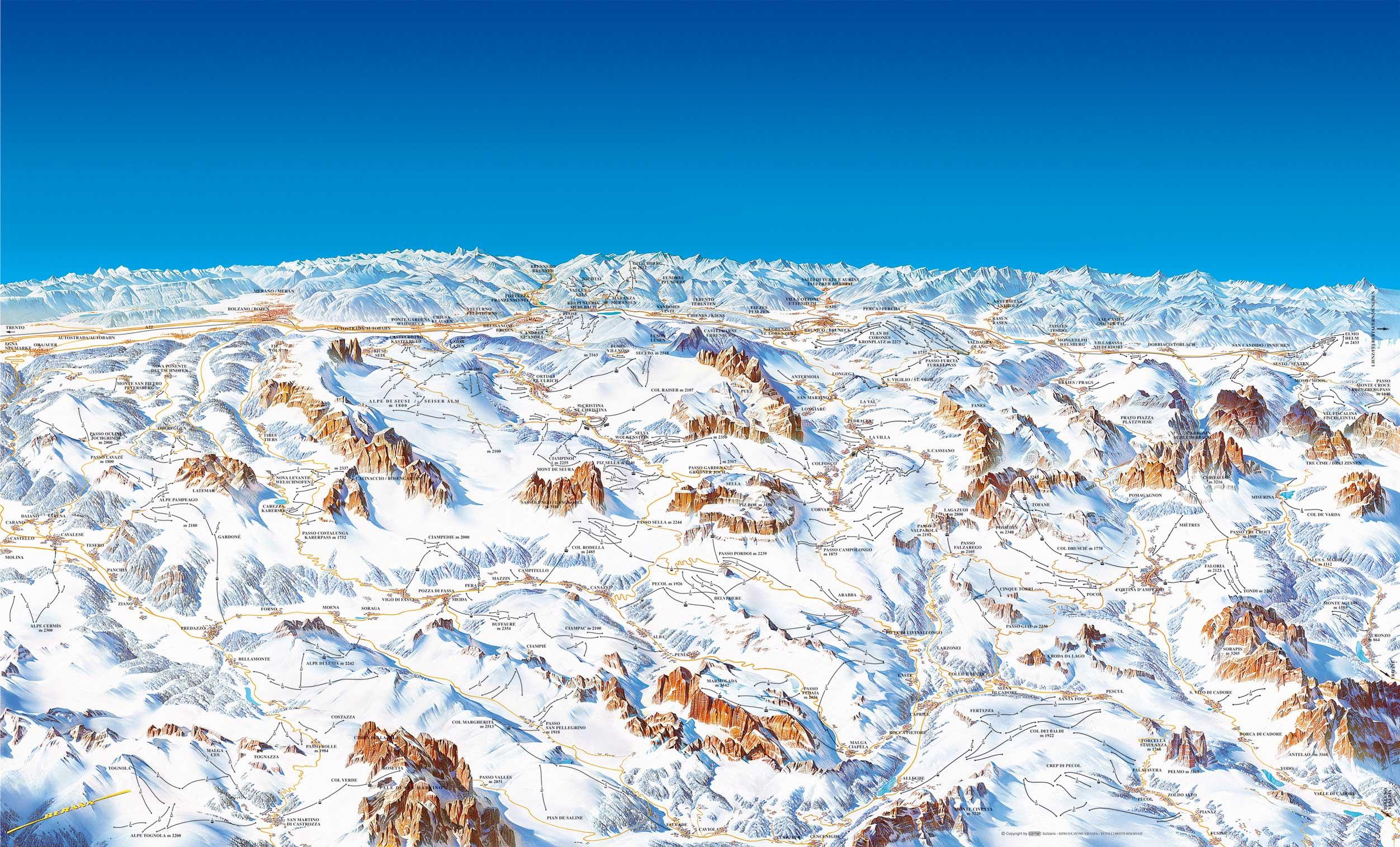 Cartina 3d Dolomiti.Cartina Piste Dolomiti Superski Skimap Dolomiti Superski Dove Sciare